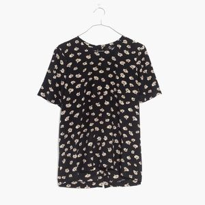 Madewell Silk Button-Back Tee in Seattle Floral